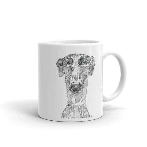 Quirky mug with comic greyhound. Cool greyhound design mug.