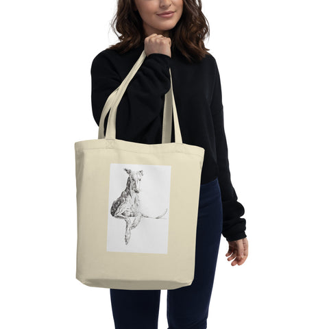 Eco Tote Bag, cool greyhound print, quirky dog art, lurcher print, funky lurcher whippet art, sighthound print, graceful dog