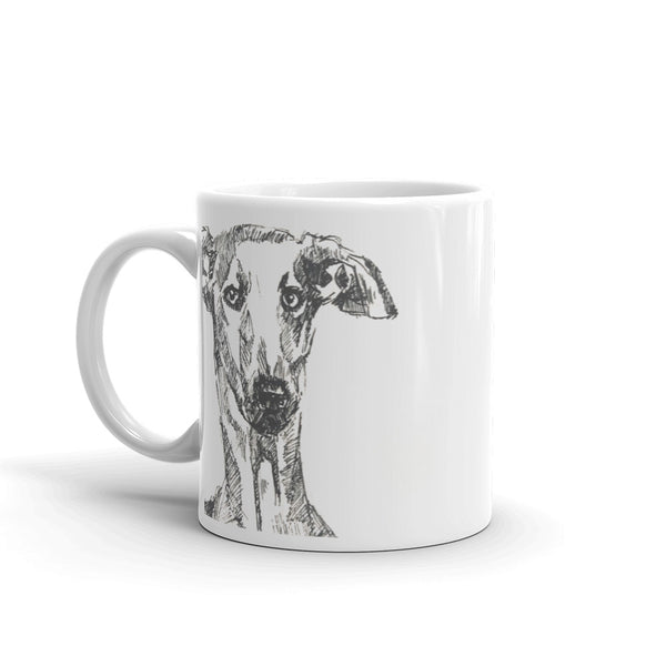 Quirky Greyhound Head Mug, cool greyhound mug by rebheadscape