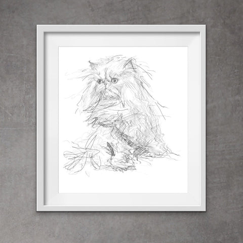 Persian Cat print, quirky and stylish digital drawing of Persian cat!