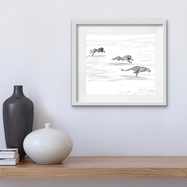 Cool cheetahs print. Quirky drawing of cheetahs racing in cool messy style. A Giclee print of cheetahs running across open plains.