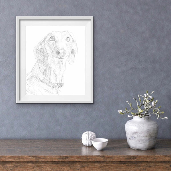Cool greyhound digital art - Funky pet art. Unique messy style sighthound drawing.
