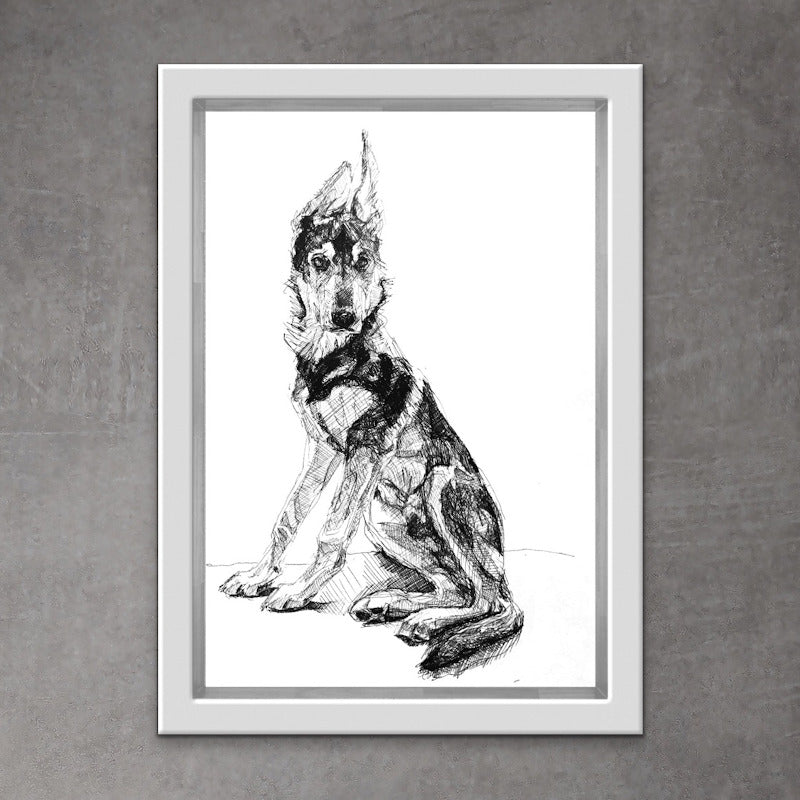 Cool wolf dog. Quirky wolf hybrid print. Unique messy style wolfdog drawing.