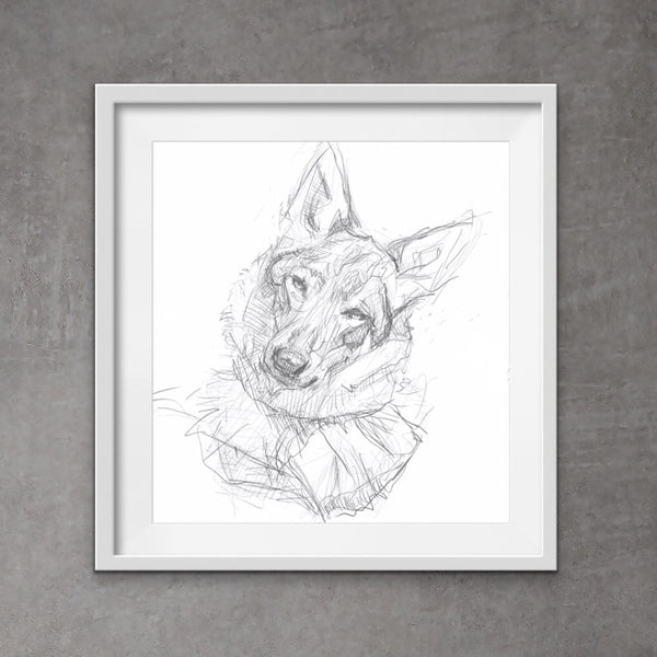 Cool German Shepherd art. Quirky digital dog art. Unique messy style wolfdog drawing.