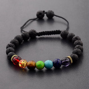 Colorful & Black Lava Stone Mens Bracelet - Mercentury