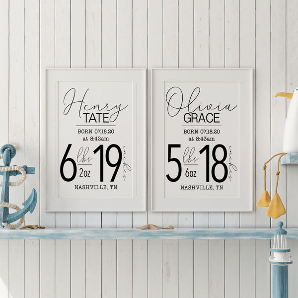 Birth Stats Canvas Sign