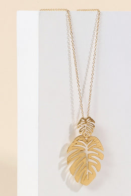 Leaf Metal Pendant Long Necklace