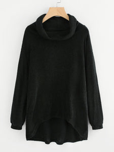 High Neck Dip Hem Knit Sweater