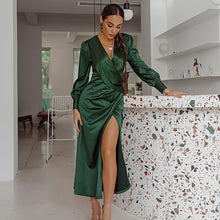 Load image into Gallery viewer, Satin v neck sexy green party dress Christmas dinner high split winter