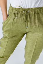 Load image into Gallery viewer, Green Linen Drawstring Pants