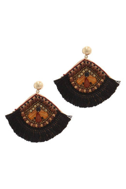 Boho Fan Shape Post Drop Earrings