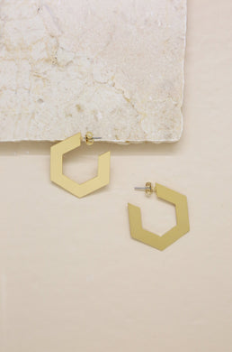Flat Gold Abstract Hoops