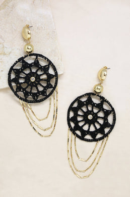 Dream Catcher Earrings in Black and Gold