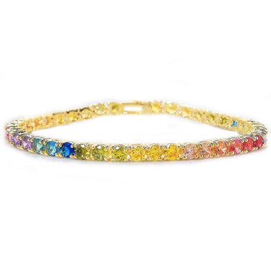 Rainbow Swarovski Elements Princess Cut Tennis