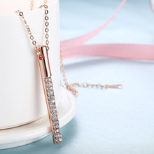 Load image into Gallery viewer, Vertical Drop Swarovski Elements Necklace in 14K Rose Gold
