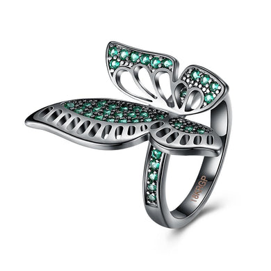 Green Swarovski Elements Large Butterfly Black Rhodium Plating Ring
