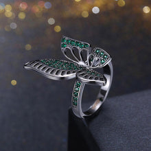 Load image into Gallery viewer, Green Swarovski Elements Large Butterfly Black Rhodium Plating Ring