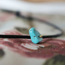 Load image into Gallery viewer, Rebecca Choker Necklace – Single Turquoise Stone with Black Leather