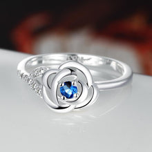 Load image into Gallery viewer, Blue Swarovski Elements Mini Floral Petal Sleek Ring