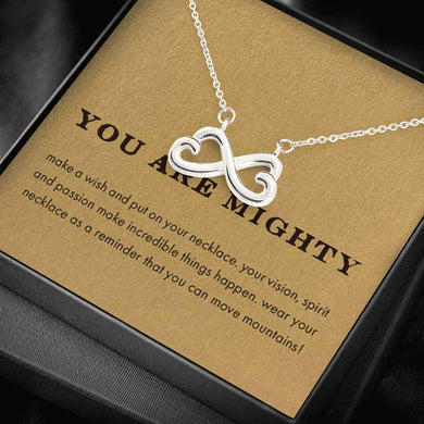 YOU ARE MIGHTY 18K White Gold Plated Infinity Heart Necklace