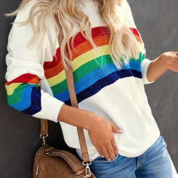 Women O-neck Long Sleeve Loose  Rainbow Sweaters