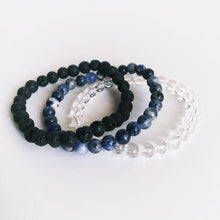 Load image into Gallery viewer, Crystal Quartz, Lava Bead & Sodalite Gemstone Bracelet Set