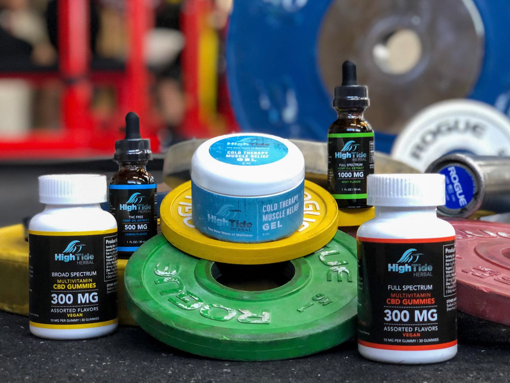 high tide herbal gummies, oils, and relief gel with weightlifting equipment
