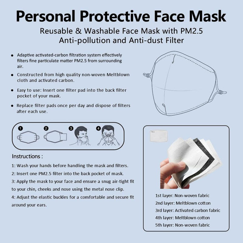 Solid White Mask | CDC Rec 3 Layer Face Mask w/ Fitted Nose Wire, Anti Dust Filters, Reusable, Adjustable Straps (Handmade)