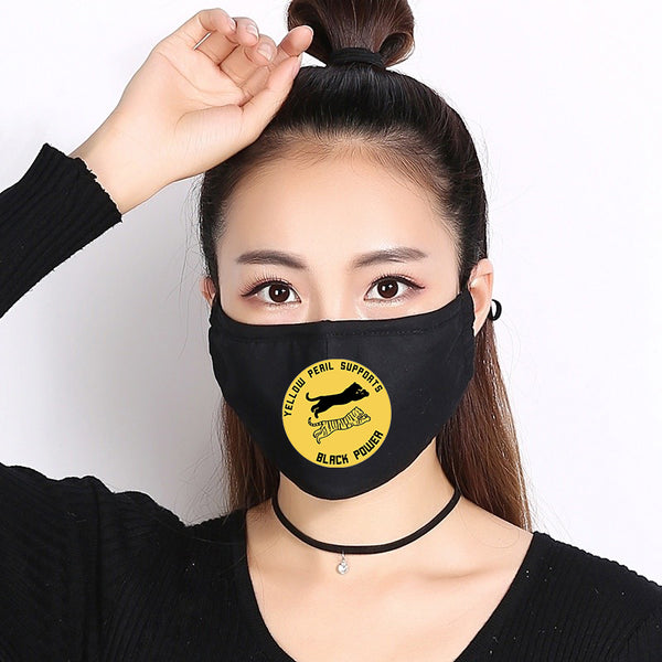 Yellow Peril Supports Black Power | CDC Rec 3 Layer Face Mask w/ Fitted Nose Wire, Anti Dust Filters, Reusable, Adjustable Straps (Handmade)