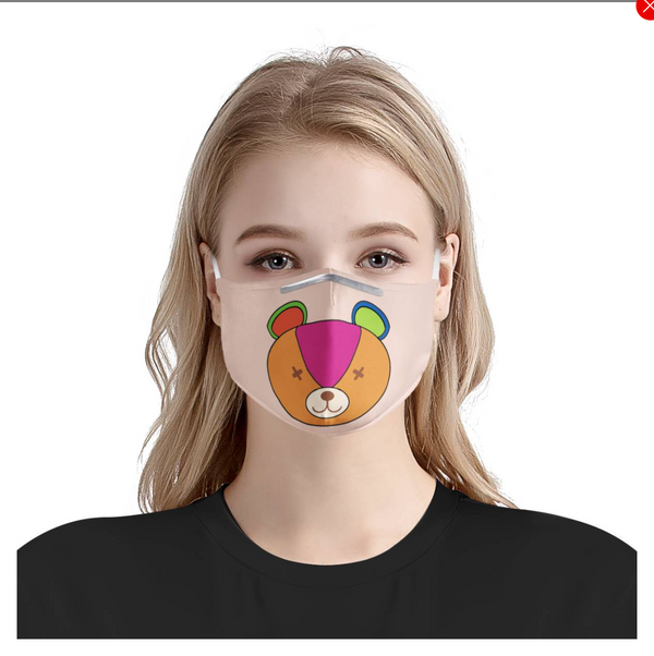 Rainbow Teddy Bear Cartoon Graphic | Cute Fashion Face Mask