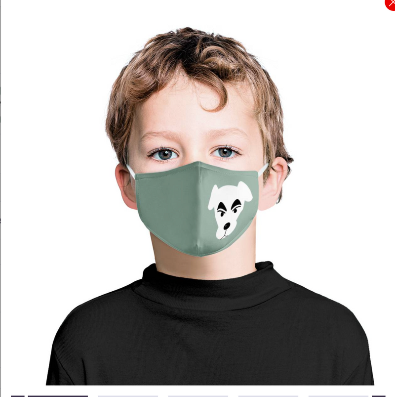 Puppy Dog Black and White Cartoon Graphic | Kids Adorable Fashion Face Mask