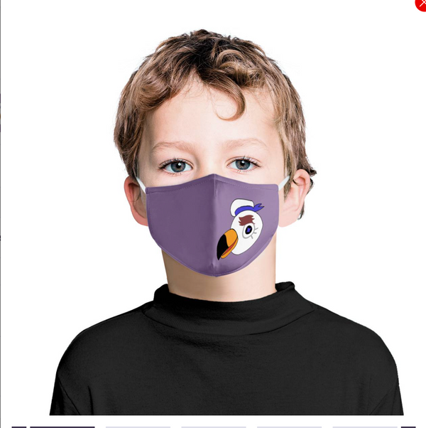 Purple Bird Cartoon Graphic | Kids Adorable Fashion Face Mask