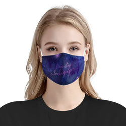 Inspirational Galaxy Stars Fantasy Sky Mask | Soft & Silky Triple Layer Anti Dust Face Mask w/ Nose Wire, Free Filters, Reusable, Handmade