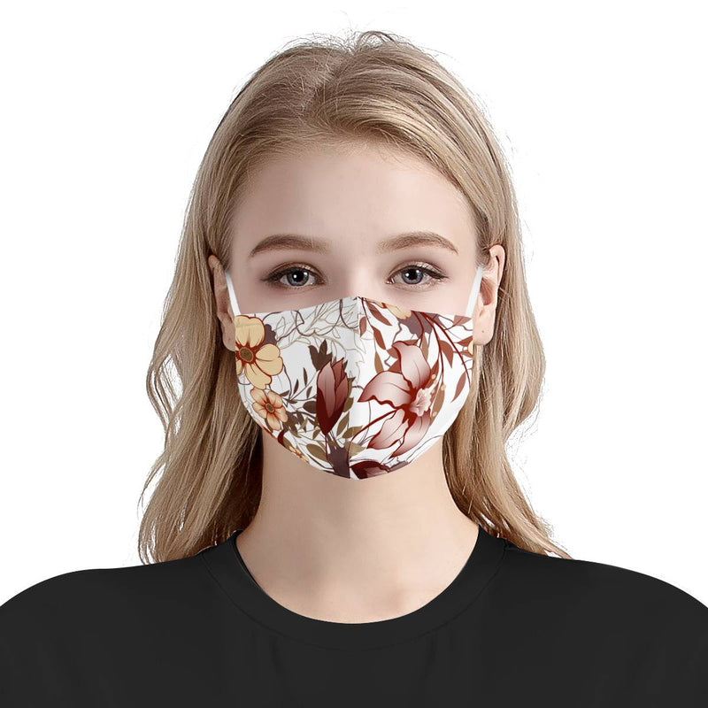 Burgundy Flower Garden | CDC Rec 3 Layer Face Mask w/ Fitted Nose Wire, Anti Dust Filters, Reusable, Adjustable Straps (Handmade)