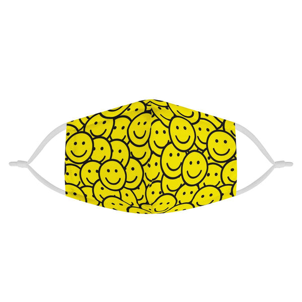 Yellow Happy Smiley Face Mask / CDC Rec Fashion Face Mask w/ Anti Dust Protection Filters / Fabric, Handmade, 3 Layer, Cute Cartoon