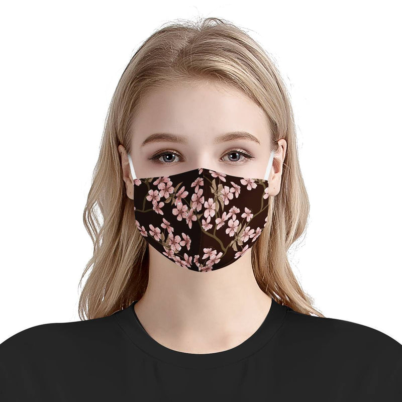 Pink Cherry Blossom Floral Cute Face Mask | Soft & Silky Triple Layer Anti Dust Face Mask w/ Nose Wire, Free Filters, Reusable, Handmade