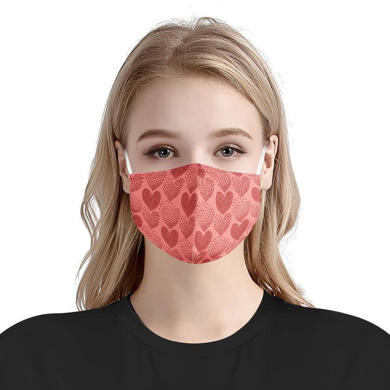 Love & Hearts XoXo | CDC Rec 3 Layer Face Mask w/ Fitted Nose Wire, Anti Dust Filters, Reusable, Adjustable Straps (Handmade)