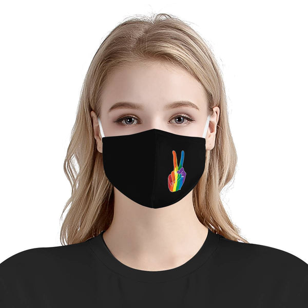 LGBTQ+ Rainbow Love Pride Peace Face Mask | Soft & Silky Triple Layer Anti Dust Protection Face Mask w/ Free Filters, Reusable, Handmade