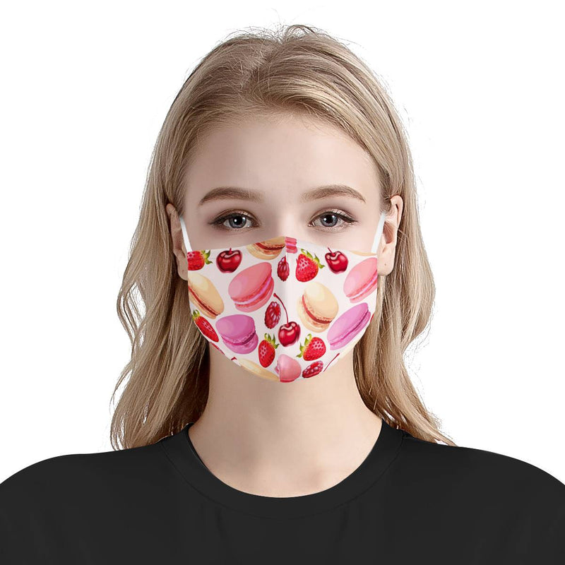 Pink Cherry Macaroon Strawberry Face Mask | Soft & Silky Triple Layer Anti Dust Face Mask w/ Nose Wire, Free Filters, Reusable, Handmade