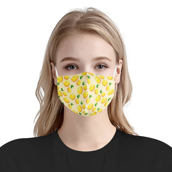Yellow Lemon Fruit Pattern Adult Mask | CDC Rec 3 Layer Face Mask w/ Fitted Nose Wire, Anti Dust Filters, Reusable, Adjustable Straps (Handmade)
