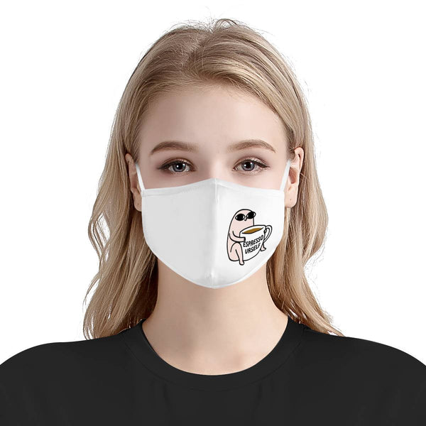 Espresso Yourself Graphic Pattern Cute Fashion Face Mask / Soft & Silky Triple Layer Face Mask w/ Anti Dust Protection, Filter Pockets