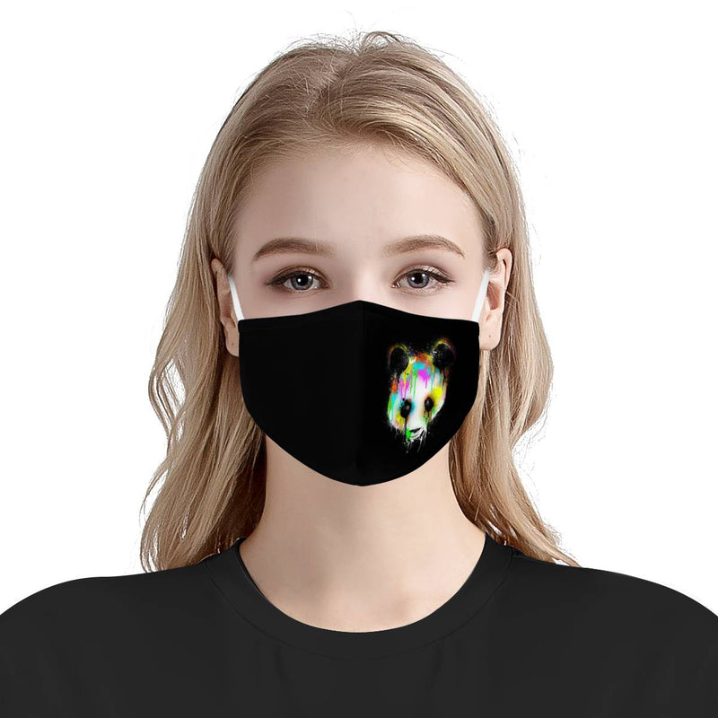 Rainbow Panda Bear Graffiti Mask / Triple Layer Face Mask w/ Fitted Nose Wire, w/ Anti Dust Filters, Reusable, Adjustable Straps (Handmade)