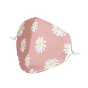 Youth Kids Daisy Flower Pattern  | Soft & Silky Triple Layer Anti Dust Face Mask w/ Nose Wire, Free Filters, Reusable, Handmade