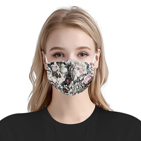 Rose Haven | CDC Rec 3 Layer Face Mask w/ Fitted Nose Wire, Anti Dust Filters, Reusable, Adjustable Straps (Handmade)