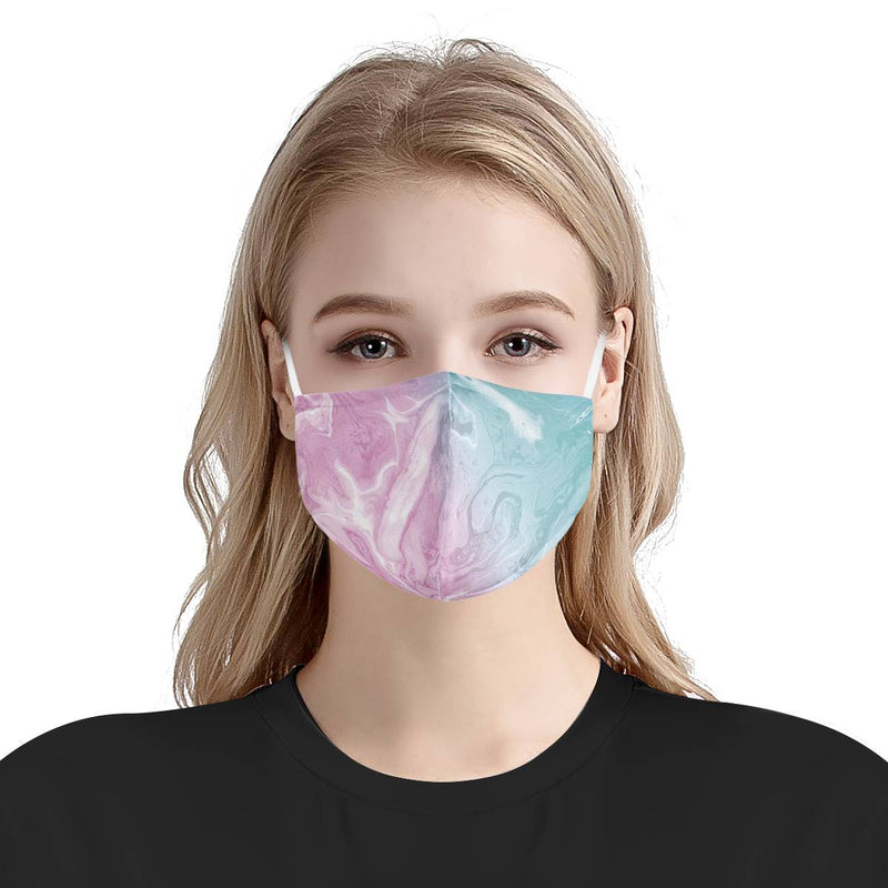 Cotton Candy Pink and Blue Marble Pattern | Soft & Silky Triple Layer Anti Dust Face Mask w/ Nose Wire, Free Filters, Reusable, Handmade
