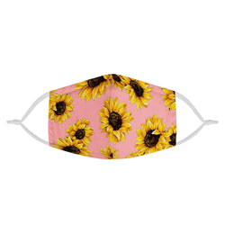 Pink Sunflower Design Elegant Face Mask | Soft & Silky Triple Layer Anti Dust Protection Face Mask w/ Free Filters, Reusable, Handmade