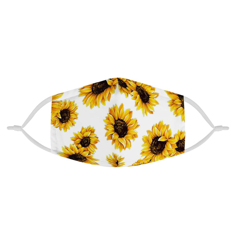 Sunflower White Pattern | CDC Rec 3 Layer Face Mask w/ Fitted Nose Wire, Anti Dust Filters, Reusable, Adjustable Straps (Handmade)