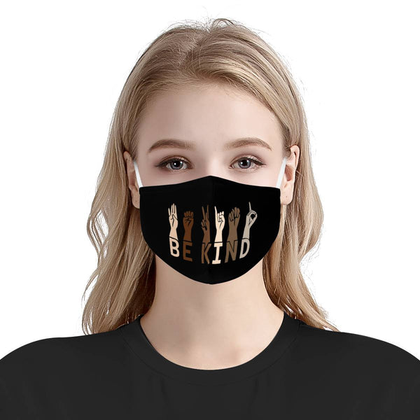 Be Kind Diversity Justice / Triple Layer Face Mask w/ Fitted Nose Wire, w/ Anti Dust Protection Filters, Reusable, Adjustable Straps