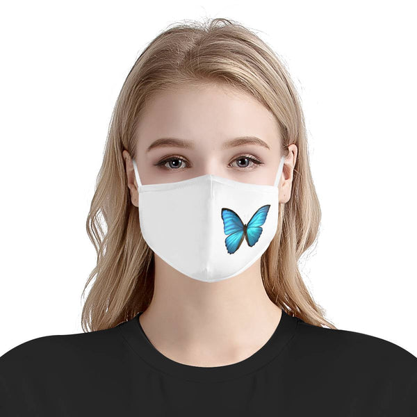 Beautiful Butterfly / Triple Layer Face Mask w/ Fitted Nose Wire, w/ Anti Dust Protection Filters, Reusable, Adjustable Straps (Handmade)
