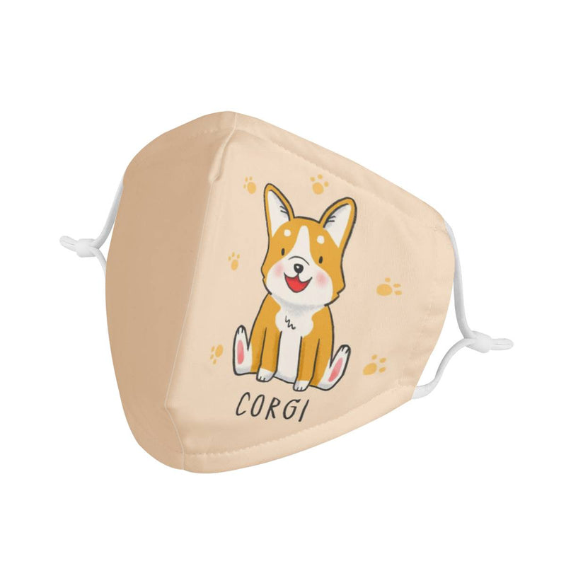 Adult Mask Cartoon Corgi Puppy Graphic | Triple Layer Face Mask w/ Anti Dust Filters, Reusable, Cute, Stylish (Handmade)